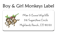Boy and Girl Monkeys Address Labels
