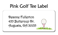 Pink Golf Tee Address Labels