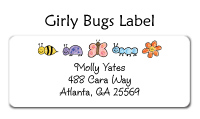 Girly Bugs Address Labels