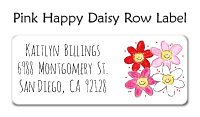 Pink Happy Daisy Row Address Labels