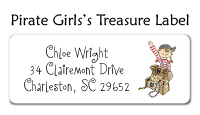 Girl Pirate Treasure Address Labels