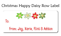 Happy Daisy Christmas Row Waterproof Label