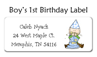 Boy's First Birthday Address Labels