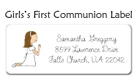Girl's First Communion Address Label