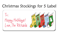 Christmas Stockings for 5 Labels