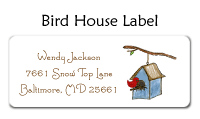 Snowy Bird House Address Labels