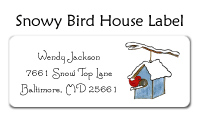 Snowy Bird House Folded Notecard
