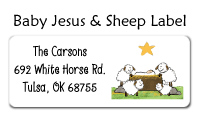 Baby Jesus and Sheep Label