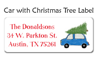 Car with Christmas Tree Label