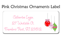 Pink Christmas Ornaments Label
