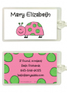 Pink and Green Ladybug Bag Tag