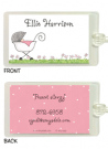 Baby Girls Stroller Folded Notecard