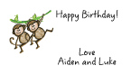 Two Monkeys Birthday Party Address Labels