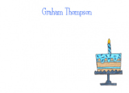 Blue Birthday Cake Flat Card