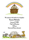 Noah's Ark Invitations for a Baptism