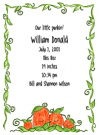 Pumpkin Family Of 4 Birth Announcements