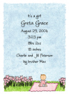 Garden Baby Girl Calling Card Design
