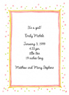Pink Speckled Border Baby Shower Invites