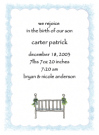 Blue Bassinet Baby Shower Invites