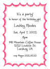 Pink Flare Border Baby Shower Invites