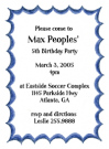 Blue Flare Border Baby Shower Invites