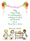 Girls Pottery Party Flat Note Card