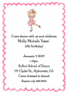 Red Head Ballerina Party Invitation Envelope