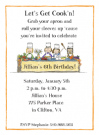 Girl's Cooking Invitations