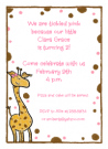 Giraffe Girl Invitations