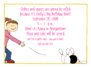 Girl's Bowling Party Invitation Envelope