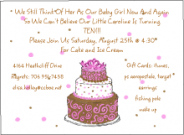 Pink And Brown Birthday Cake Invitations
