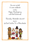 Thanksgiving Pilgrims And Indians Folded Notecard