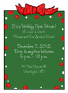 Red & Green Speckled Border Party Invitations
