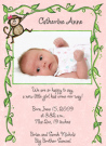 Monkey Girl Photo Card Baby Announcement Envelope
