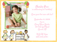 Girl's Pottery Party Photo Invitations
