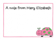 Pink and Green Ladybug Flat Card