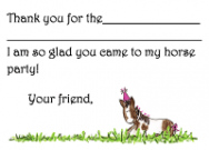 Horse Birthday Party Thank You Note