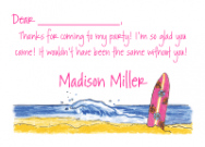 Pink Surfboard Thank You Note
