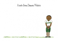 African American Football Boy Thank You Note