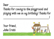 Playground Thank You Note