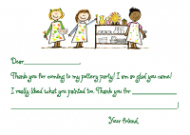 Boys And Girls Pottery Party Thank You Note
