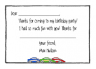 Race Cars Flat Notecard