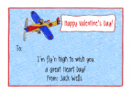 Valentine Airplane Flat Notecard