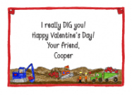 Construction Trucks Valentine Cards