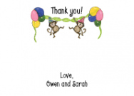 Two Monkeys Birthday Flat Notecard