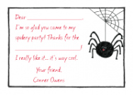 Black Spider Folded Notecard