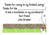 Brunette Football Boy Thank You Note