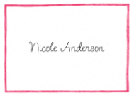 Light Pink Line Border Flat Note Card