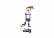 Brunette Soccer Girl Flat Card