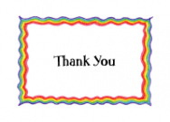 Rainbow Border Thank You Note